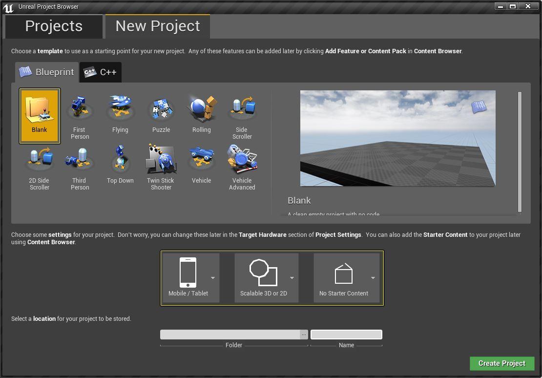 Opzioni progetto Google VR su Unreal Engine 4