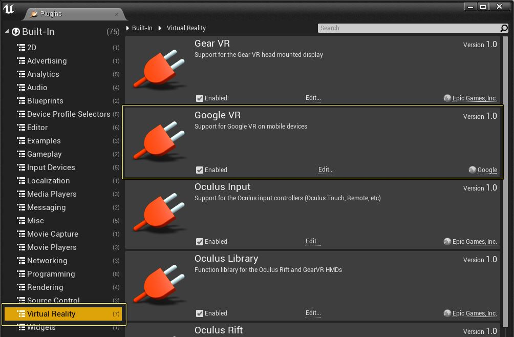 Plugin Google VR su Unreal Engine 4