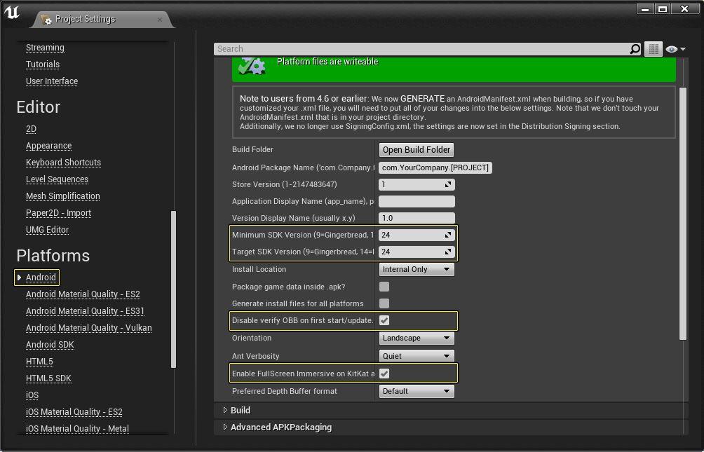 Unreal Engine 4 Impostazioni Consigliate Progetto Android