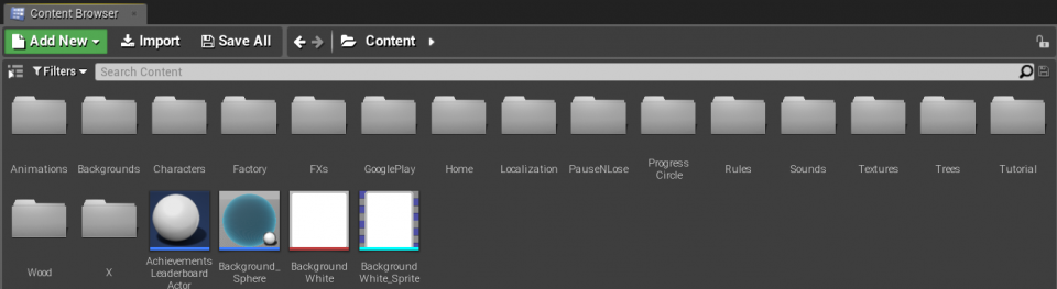 Content Browser Unreal Engine 4 Example