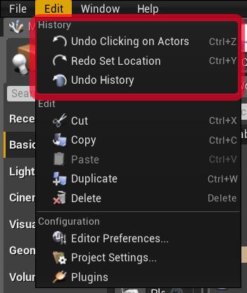 Cronologia azioni Unreal Engine 4 History Come Aprirla
