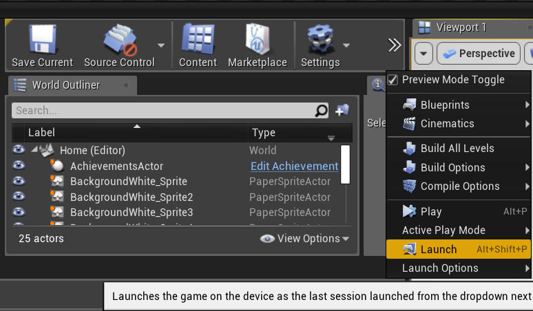 Launch the Game UE4