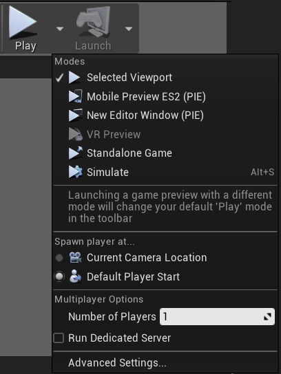 Modalità PIE Play e impostazioni Unreal Engine 4 Play Mode and Play Settings