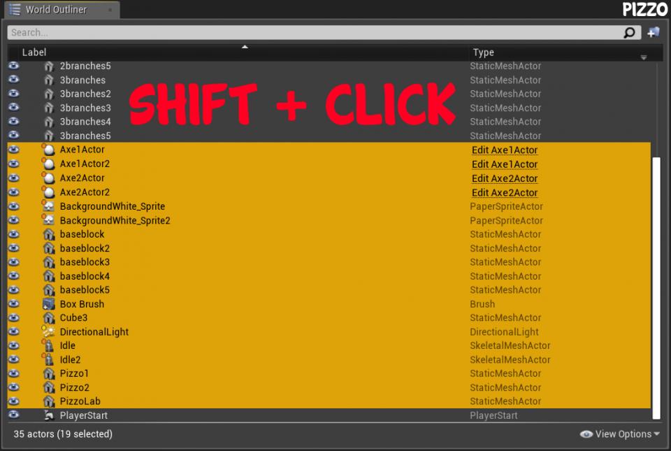 Come organizzare gli actor su Unreal Engine 4 Come selezionare actor multipli consecutivi con Shift + Click