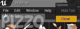Unreal Engine 4 personalizzare il layout Close Tab Chiudere