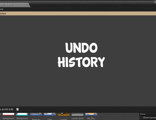 Cronologia azioni su Unreal Engine 4 (History): Undo e Redo