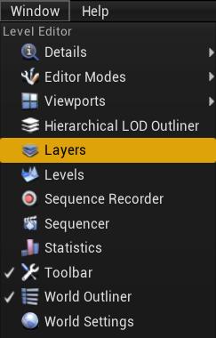 Come usare/rendere visibli i layers (o livelli) su Unreal Engine 4