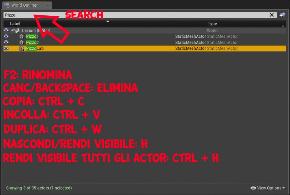 Tutte le azioni possibili su un actor in Unreal Engine 4