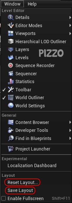 Come resettare/reimpostare o salvare un layout su Unreal Engine 4
