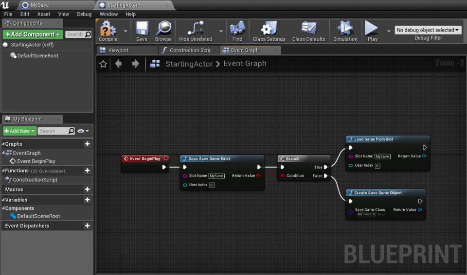 Creare un primo salvataggio Blueprints
