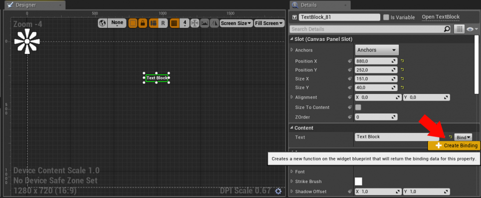 Binding con un testo su Unreal Engine 4