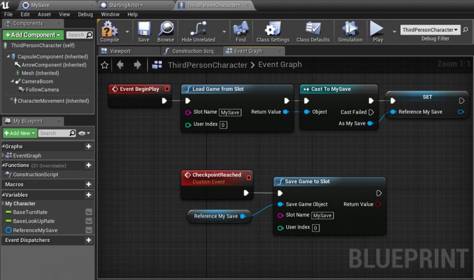 Salvare il gioco Unreal Engine 4 Blueprints