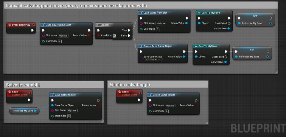 Sistema di salvataggio completo per salvare una partita, caricarla ed eliminarla su Unreal Engine 4
