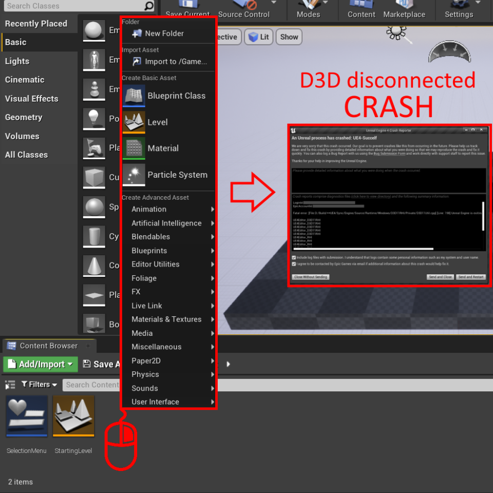 UE 4.27 and 4.26.1 crash in fullscreen due to multiplane overlay windows causing D3D disconnection.
